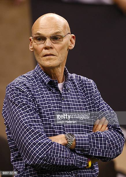 Democratic strategist James Carville attends the NFL game between the New Orleans Saints and the New England Patriots at Louisana Superdome on...