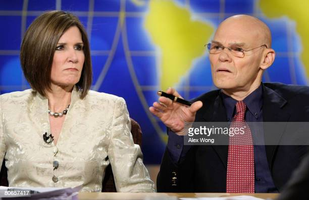 Democratic strategist James Carville speaks as his wife and Republican strategist Mary Matalin listens during a taping of Meet the Press at the NBC...