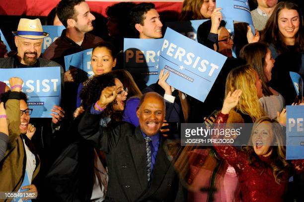 Democratic supporters go wild as news of democrats taking the house is given during the Election Day Massachusetts Democratic Coordinated Campaign...