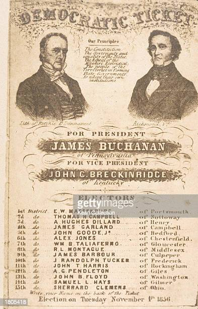 Democratic ticket listing presidential candidate James Buchanan and vice presidential candidate John Breckinridge for the 1856 national elections