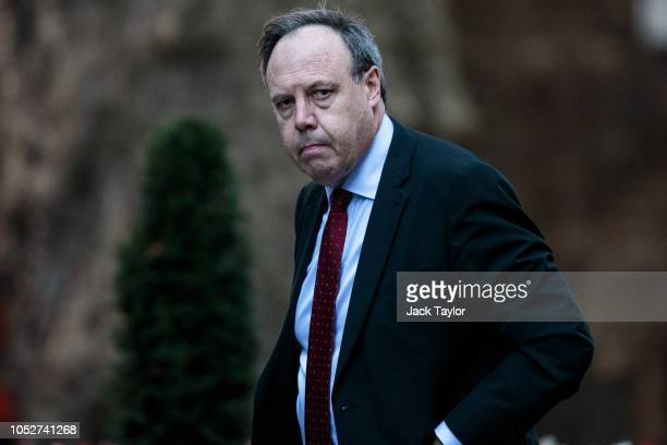 Democratic Unionist Party Deputy Leader Nigel Dodds arrives at Number 10 Downing Street on October 22 2018 in London England British Prime Minister...