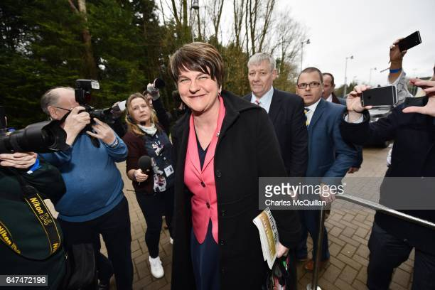 Democratic Unionist party leader and former First Minister Arlene Foster makes her way through a large media pack as she arrives at the Northern...