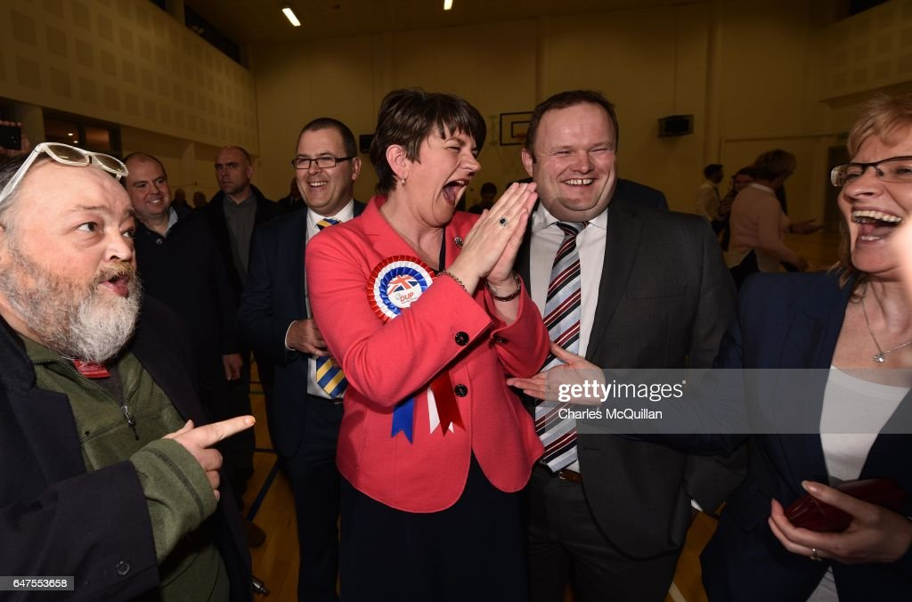 Democratic Unionist party leader and former First Minister Arlene Foster (C) celebrates with party members after being elected as the Northern Ireland Stormont as election count takes place at the Omagh Leisure centre on March 3, 2017 in Omagh, Northern Ireland. Voters went to the polls yesterday for the second time in 10 months after the collapse of the power sharing executive government.