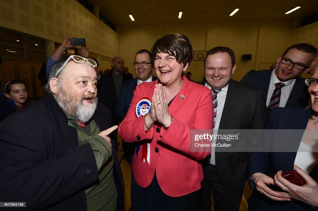 Democratic Unionist party leader and former First Minister Arlene Foster (C) celebrates with party members after being elected as the Northern Ireland Stormont as the election count takes place at the Omagh Leisure centre on March 3, 2017 in Omagh, Northern Ireland. Voters went to the polls yesterday for the second time in 10 months after the collapse of the power sharing executive government.