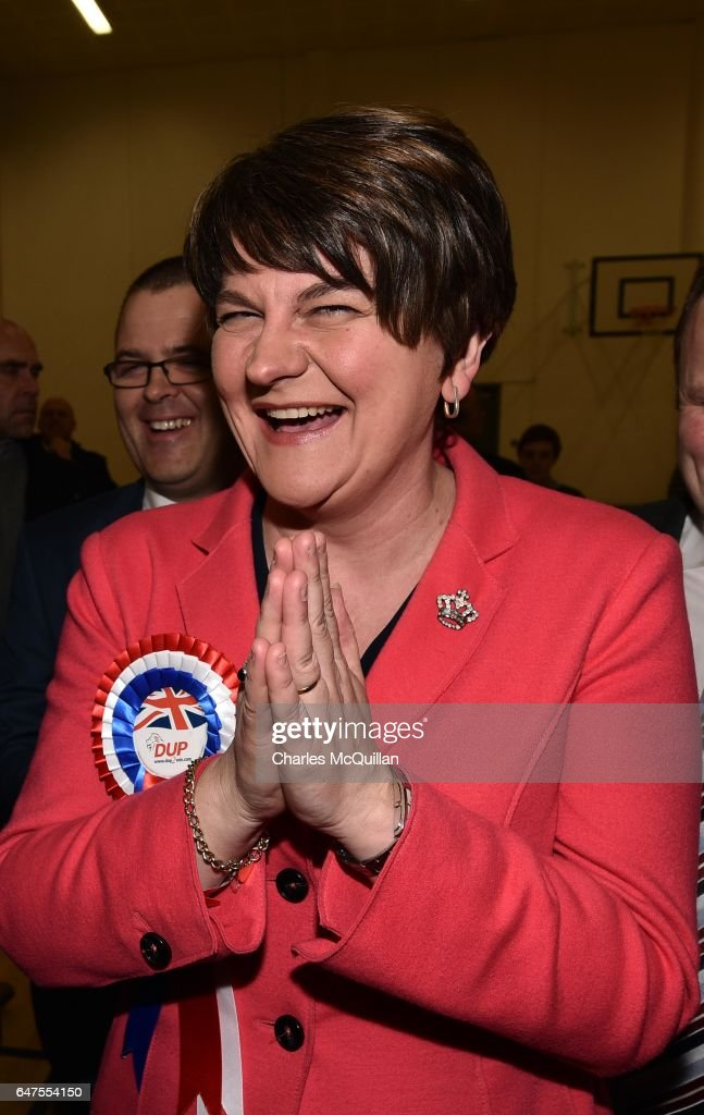 Democratic Unionist party leader and former First Minister Arlene Foster celebrates after being elected as the Northern Ireland Stormont as the election count takes place at the Omagh Leisure centre on March 3, 2017 in Omagh, Northern Ireland. Voters went to the polls yesterday for the second time in 10 months after the collapse of the power sharing executive government.