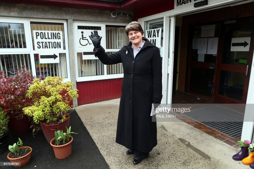 Democratic Unionist Party (DUP) Leader, and former Norther Ireland First Minister, Arlene Foster, arrives to cast her vote in the Northern Ireland Assembly elections, at Brookeborough Primary School in Brookeborough on March 2, 2017. Northern Ireland began voting Thursday in snap elections to resolve a political crisis fuelled by bad blood and Brexit, which is testing the delicate peace in the British province. / AFP PHOTO / Paul FAITH