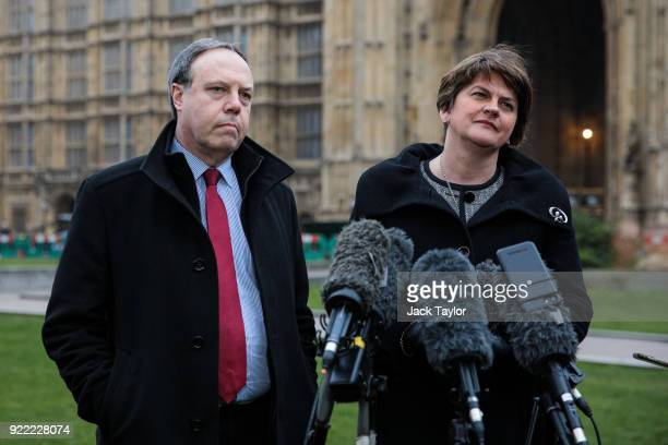 Democratic Unionist Party Leader Arlene Foster and Deputy Leader Nigel Dodds make a statement on College Green in Westminster on February 21 2018 in...