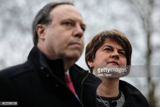 Democratic Unionist Party Leader Arlene Foster and Deputy Leader Nigel Dodds make a statement on College Green in Westminster on February 21, 2018 in...