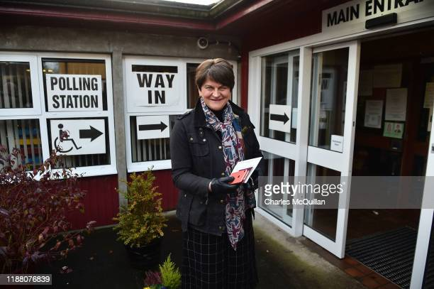 Democratic Unionist Party leader Arlene Foster casts her vote in the General Election on December 12 2019 in Enniskillen United Kingdom The current...