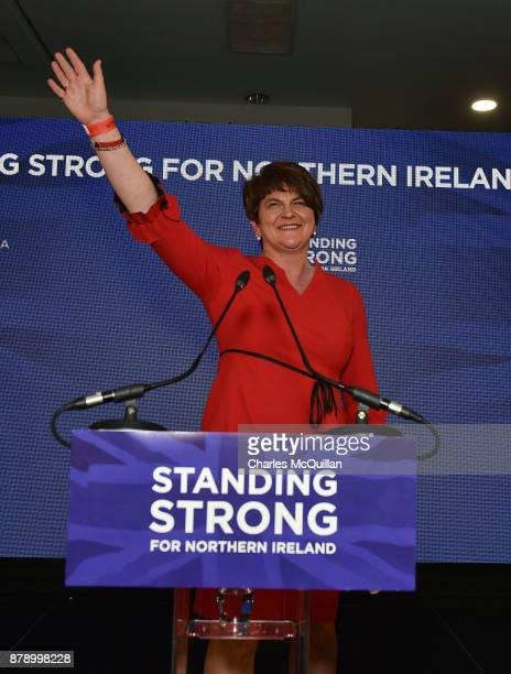Democratic Unionist Party leader Arlene Foster gives her leader's speech during the annual DUP party conference at La Mon House on November 25 2017...