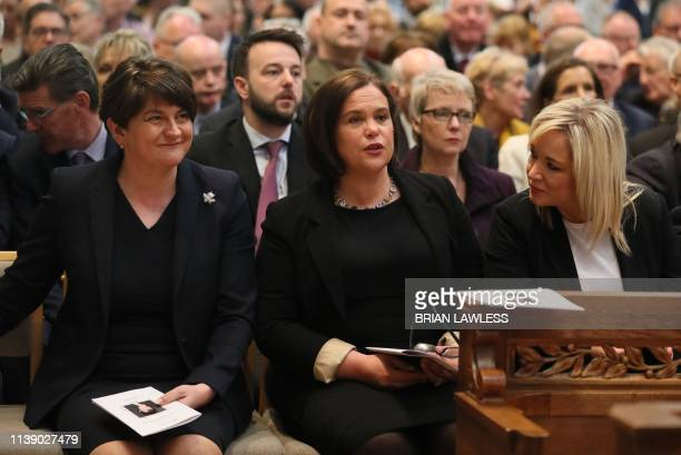 Democratic Unionist Party leader Arlene Foster Irish Republican Sinn Fein party leader Mary Lou McDonald and Sinn Fein Northern Leader Michelle...