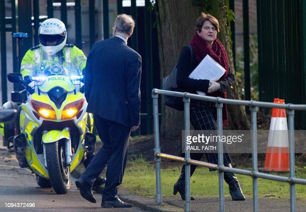 Democratic Unionist Party leader Arlene Foster leaves the Government Buildings on the Stormont Estate in Belfast Northern Ireland on February 6 2019...