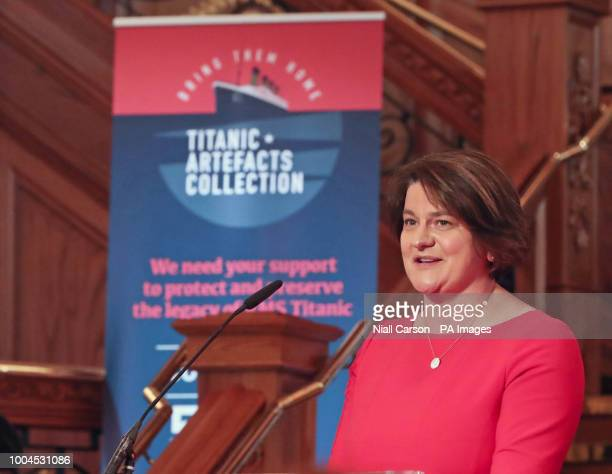 Democratic Unionist Party leader Arlene Foster speaks at Titanic Belfast during the launch of a 19 million dollar bid to buy a collection of 5500...
