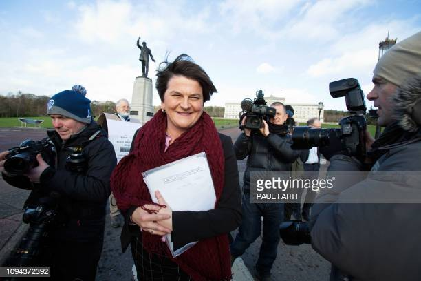 Democratic Unionist Party leader Arlene Foster speaks to the media after meeting Britain's Prime Minister Theresa May for Brexit talks at the...