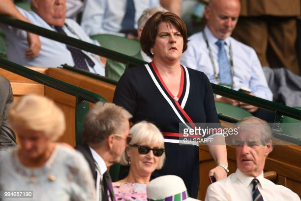 Democratic Unionist Party leader Arlene Foster watches Spain's Rafael Nadal play Czech Repbulic's Jiri Vesely in their men's singles fourth round...