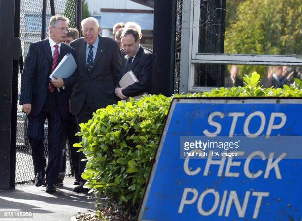 Democratic Unionist Party leader Ian Paisley , deputy leader Peter Robinson and Belfast North MP Nigel Dodds emerge from talks with General John de...