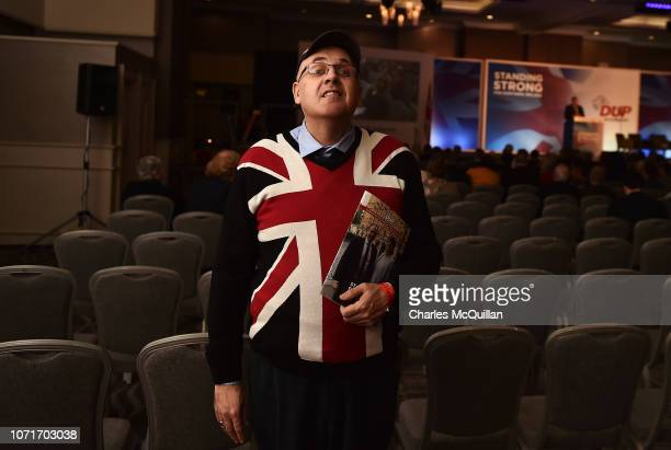 Democratic Unionist Party supporter is seen during the second day of the DUP party conference on November 24 2018 in Belfast Northern Ireland The DUP...