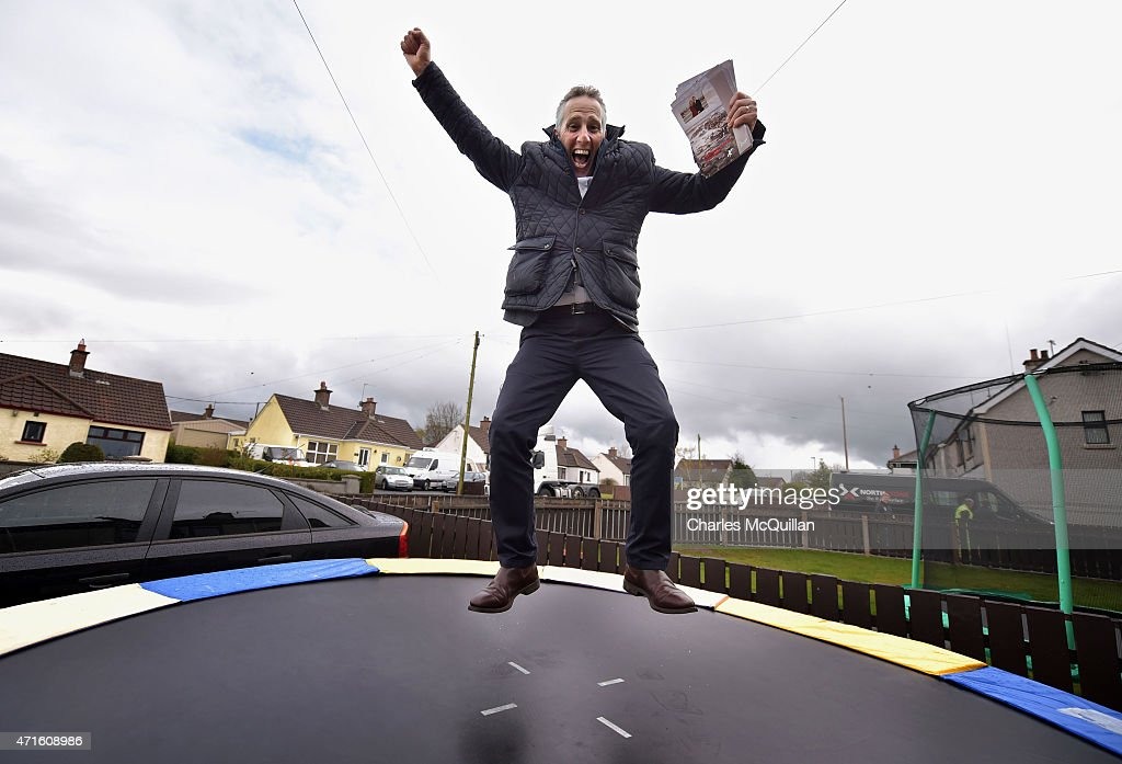 Democratic Unionist Party Westminster candidate Ian Paisley Jr makes impromptu use of a trampoline whilst out canvassing on April 29, 2015 in Ballymoney, Northern Ireland. Son of the late Ian Paisley, founder of the DUP and former Northern Ireland First Minister, Paisley Jr successfully ran to succeed his father as the Westminster MP for North Antrim in the 2010 UK general election, winning 46.4% of the vote share. Political observers have suggested that the DUP, with a probable 8-10 Westminster seats could have an influential role to play if the General Election results in a hung parliment. The DUP has said that they are open to working with either the Conservatives or the Labour party.