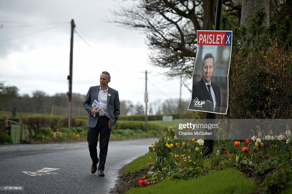 Democratic Unionist Party Westminster candidate Ian Paisley Jr out canvassing on April 29, 2015 in Ballymoney, Northern Ireland. Son of the late Ian Paisley, founder of the DUP and former Northern Ireland First Minister, Paisley Jr successfully ran to succeed his father as the Westminster MP for North Antrim in the 2010 UK general election, winning 46.4% of the vote share. Political observers have suggested that the DUP, with a probable 8-10 Westminster seats could have an influential role to play if the General Election results in a hung parliment. The DUP has said that they are open to working with either the Conservatives or the Labour party.