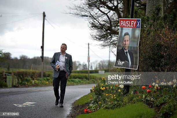 Democratic Unionist Party Westminster candidate Ian Paisley Jr out canvassing on April 29, 2015 in Ballymoney, Northern Ireland. Son of the late Ian...