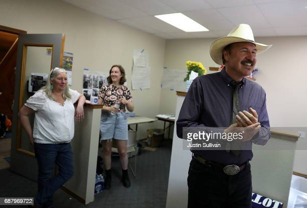 Democratic US Congressional candidate Rob Quist greets get out the vote volunteers on May 24 2017 in Missoula Montana Rob Quist is campaigning...