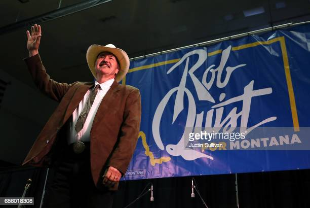 Democratic US Congressional candidate Rob Quist speaks during a campaign rally with US Sen Bernie Sanders at the University of Montana on May 20 2017...