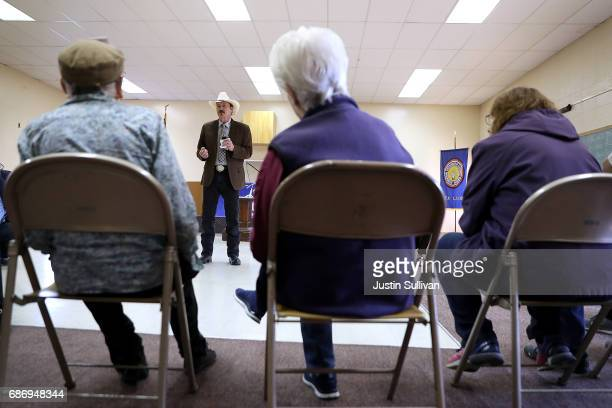 Democratic US congressional candidate Rob Quist talks with supporters during a Get Out The Vote Canvass Launch event at Labor Temple on May 22 2017...