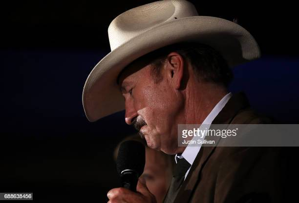 Democratic US Congresstional candidate Rob Quist delivers a concession speech to supporters during his election night gathering the DoubleTree by...