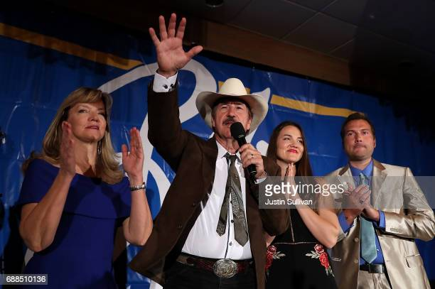 Democratic US Congresstional candidate Rob Quist delivers his concession speech to supporters alongside his wife Bonni Quist daughter Halladay Quist...