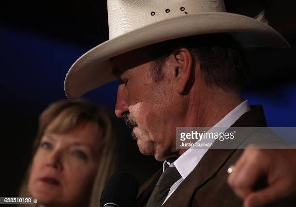 Democratic US Congresstional candidate Rob Quist pauses as he delivers his concession speech to supporters at the DoubleTree by Hilton Hotel...