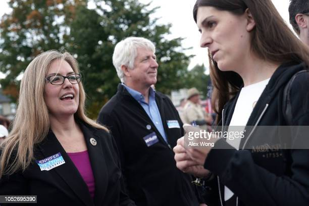 Democratic US House candidate and Virginia State Sen Jennifer Wexton Virginia State Attorney General Mark Herring and Virginia State Delegate Danica...