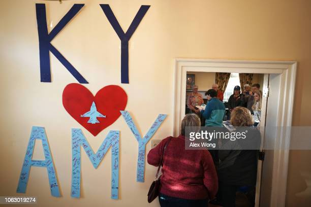 Democratic US House of Representatives candidate for Kentucky's Sixth Congressional District Amy McGrath speaks to campaign volunteers during a...