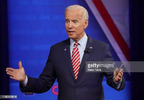 Democratic US presidential candidate former Vice President Joe Biden speaks at the Human Rights Campaign Foundation and CNN's presidential town hall...