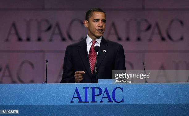 Democratic US presidential candidate Sen Barack Obama addresses the 2008 American Israel Public Affairs Committee Policy Conference at the Washington...