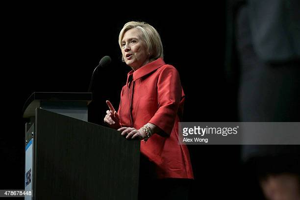 Democratic US presidential hopeful and former US Secretary of the State Hillary Clinton speaks during the Democratic Party of Virginia...