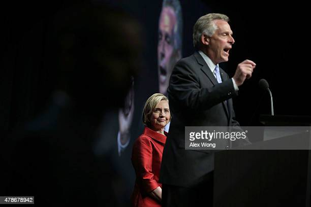 Democratic US presidential hopeful and former US Secretary of the State Hillary Clinton is introduced by Virginia Governor Terry McAuliffe during the...