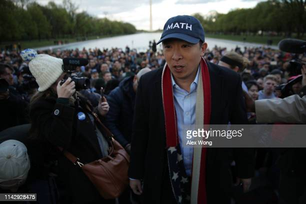 Democratic U.S. Presidential hopeful Andrew Yang hosts a campaign rally at the Lincoln Memorial April 15, 2019 in Washington, DC. One of Yang's major...