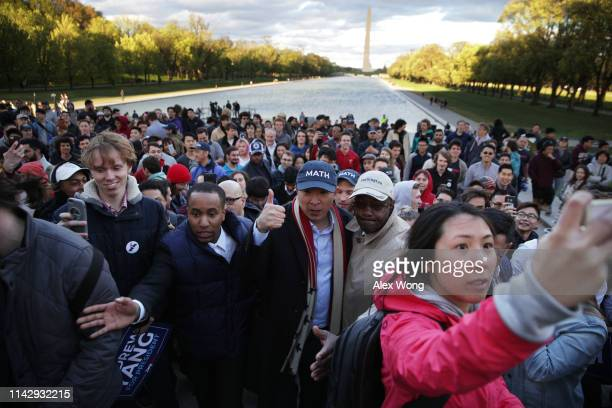 Democratic U.S. Presidential hopeful Andrew Yang leaves after a campaign rally at the Lincoln Memorial April 15, 2019 in Washington, DC. One of...