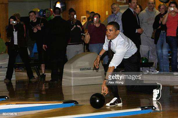 Democratic US presidential hopeful Sen Barack Obama bowls at Pleasant Valley Bowling Center March 29 2008 in Altoona Pennsylvania Obama is on his...