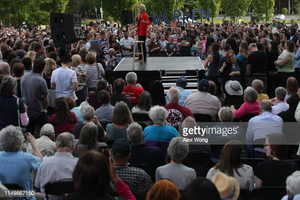 Democratic U.S. Presidential hopeful Sen. Elizabeth Warren speaks during a campaign town hall at George Mason University May 16, 2019 in Fairfax,...
