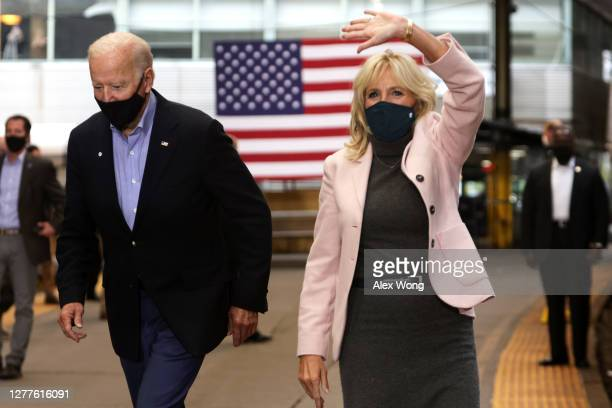Democratic U.S. Presidential nominee Joe Biden and wife Dr. Jill Biden arrive at a campaign stop at Pittsburgh Union Station September 30, 2020 in...
