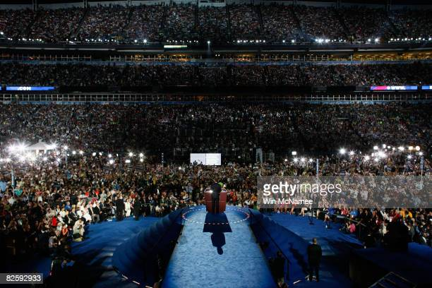Democratic U.S. Presidential nominee Sen. Barack Obama speaks on day four of the Democratic National Convention at Invesco Field at Mile High August...