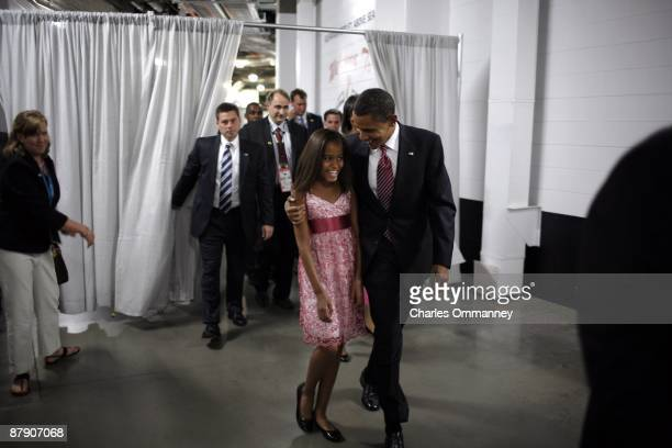 Democratic US Presidential nominee Sen Barack Obama with running mate US Sen Joe Biden Michelle Obama Jill Biden and daughters Malia and Sasha on day...