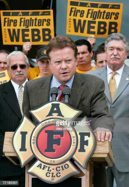 Democratic US Senate candidate Jim Webb speaks as General President Harold Schaitberger of the International Association of Firefighters and Gerry...