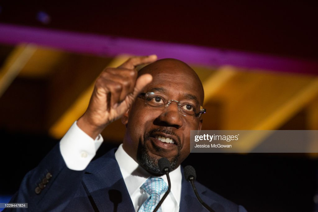 Senate Candidate Reverend Raphael Warnock Holds Election Night Event In Georgia : News Photo