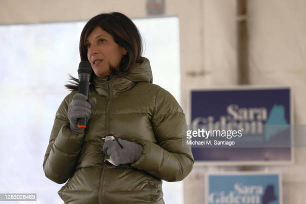 Democratic U.S. Senate candidate Sara Gideon speaks during an affordable health care town hall in Kennebec County on October 30, 2020 in Augusta,...