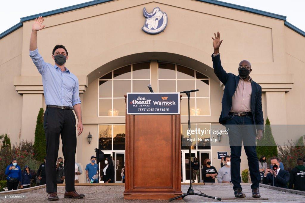 Georgia Democratic Nominees For Senate Rev. Warnock And Ossoff Attend Rally In Jonesboro : News Photo