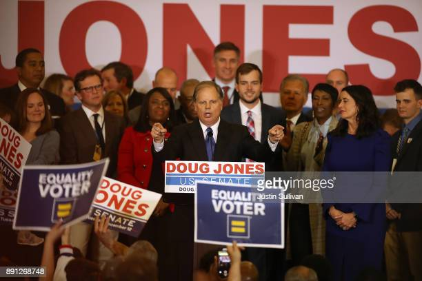 Democratic US Senator elect Doug Jones speaks to supporters during his election night gathering the Sheraton Hotel on December 12 2017 in Birmingham...