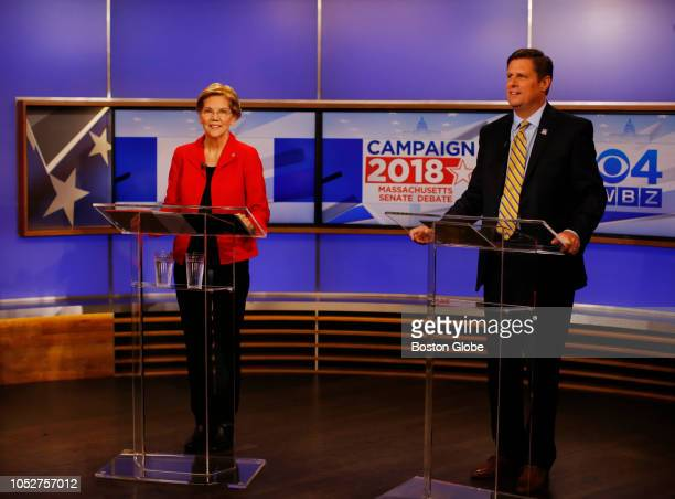 Democratic US Senator Elizabeth Warren and Republican challenger Geoff Diehl pose for a portrait before a debate at the WBZTV studios in Boston on...