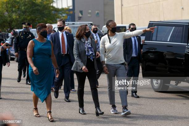 Democratic U.S. Vice presidential nominee, Sen. Kamala Harris arrives with Flint, Michigan-native and former WNBA basketball player Deanna Nolan to...